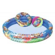 Бассейн детский надувной + плавательный круг+мяч