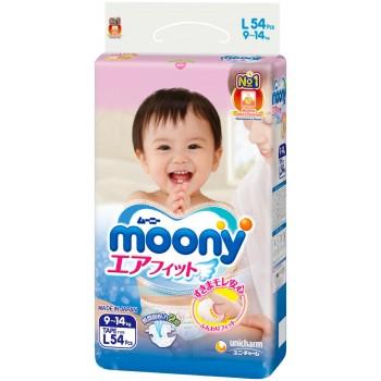 Moony подгузники, L (9-14 кг), 54 шт