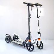 """Самокат двухколесный """"Scooter"""" (два аммортизатора) с дисковым тормозом. Белый. Черный."""